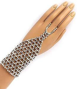 Bracelet Esclave - Bracelet à Maille lié à une Bague Effet Argenté