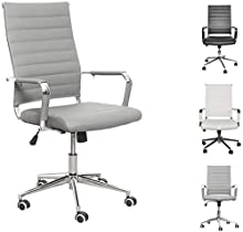 eclife Ergonomic Office Chair Ribbed Leather Swivel - Adjustable Height Tilt Arm Sleeves Lumbar Support High Back Upholstery Executive Conference Task Computer Chrome Wheel Caster 350lbs Big (Grey)