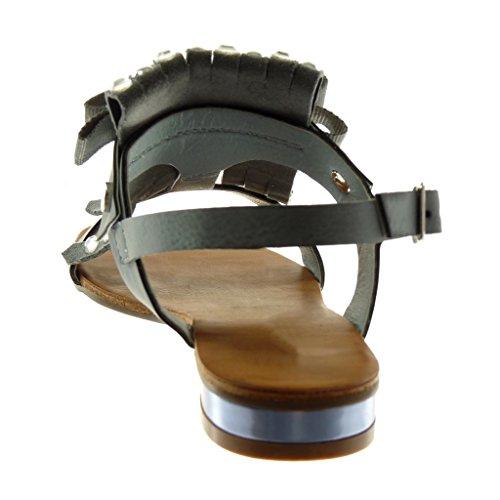 Donna Costellato Di Modo Scarpa Cavigliera Blocco Nodo 2 Angkorly Grigio Tacco Cm 5 Striscia Del Sandalo Blu wzIEv