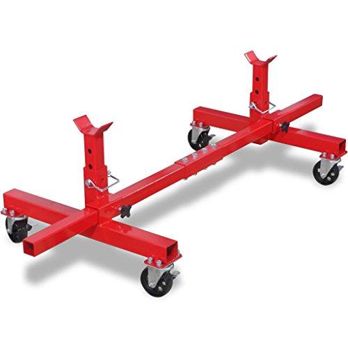 Mobiler Achsständer, Stahl, lackiert, 150 x 60 x 34 cm, 906,5 kg, Rot