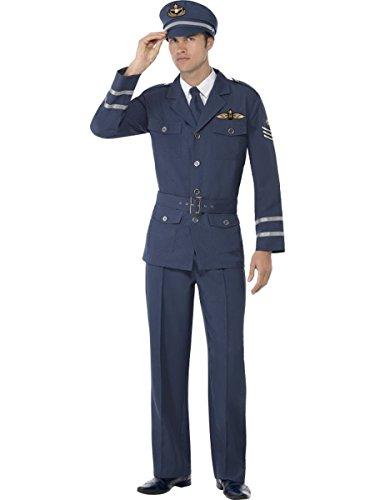 Smiffys Herren Kostüm Air Force Captain Pilot in blau Karneval Fasching Gr.L