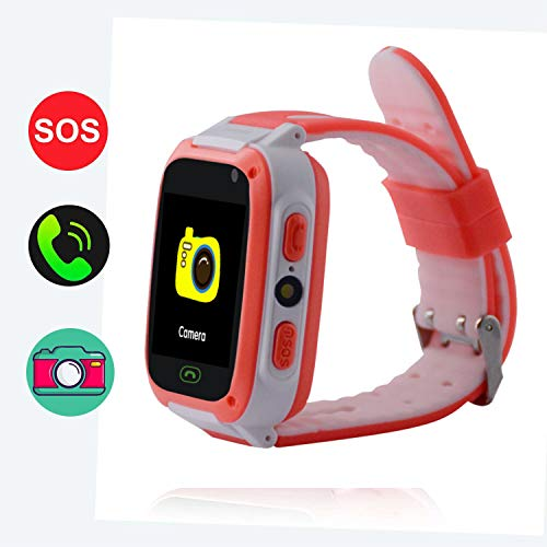 Hangang GPS Tracker Smart Watch per bambini, Smartwatch per ragazze Ragazzi Phone Watch Camera SOS Alarm Clock, Smart Watch per bambini Ragazzi Ragazze Compleanno Grandi regali (red)
