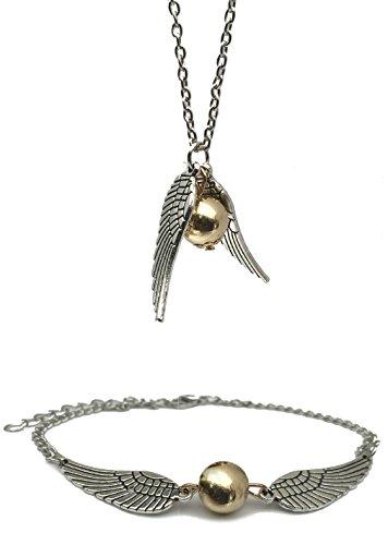 Snitch Dorada con Perlas de imitación oro - Set de Collar y Pulsera/Tobillera