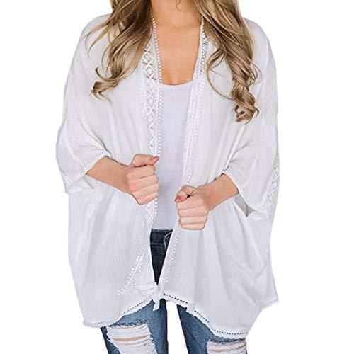 MRULIC Frauen Chiffon Lose Schal Print Kimono Cardigan Top Cover Up Bluse Beachwear (EU-38/CN-S, Y-Weiß)