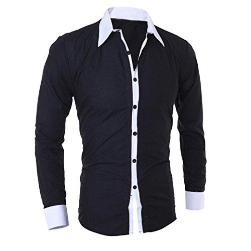 Männer Hemden VENMO Mode Persönlichkeit Bluse Männer Casual Shirt Schlankes Langarmshirt (XL, Black)