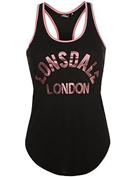 Lonsdale Mujer Logo Camiseta Señoras Top Ropa Vestir Casual Entrenar