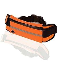 groofoo Running cinturón bolsa de cintura ajustable bolsillos Fanny unidades resistente al agua reflectante ajustable Cintura senderismo correr ciclismo Camping Escalada viaje teléfono Protección, naranja claro