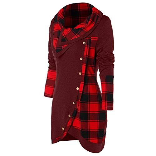 WWricotta Blouse Women Long Sleeve Plaid Turtleneck Tartan Tunic Sweatshirt Pullover Tops(rot,XL)