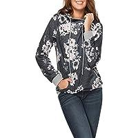 Rosennie Damen Strickjacke Blumendruck Spitzenbluse O-Ausschnitt Streifen Langram Bluse mit Kapuze Mode Langarmshirts... preisvergleich bei billige-tabletten.eu