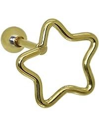 tumundo Set 5 piezas o 1 Helix Tragus Piercing Fakeplug Estrella Star Pendientes Bar Mujer Hombre