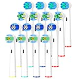 Qlebao Toothbrush Head Oral B Compatible, Pack of 16 Electric Toothbrush Replacement Toothbrush Head for Oral b Vitality -Includes 4 Precision Clean, 4 Floss Action, 4 Plaque Control & 4 3D White