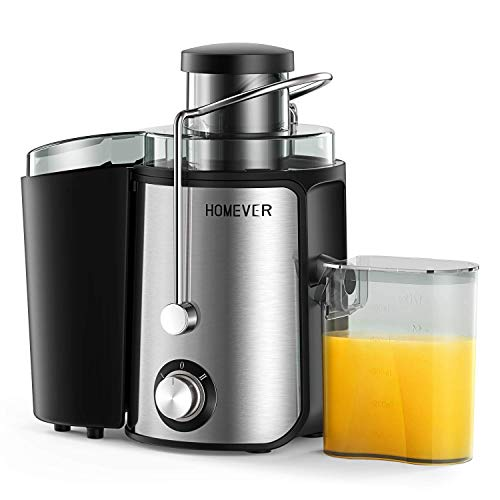 Homever Entsafter Slow Juicer, Entsafter Gemüse und Obst mit Rücklauffunktion langsam Drehender Entsafter und Saftauffangbehälter und Reinigungsbürste, BPA-frei, Geeignet für Familien