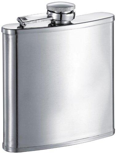 Lauraus Satin Finish Stainless Steel 6oz Hip Flask - Stud-trim Leder