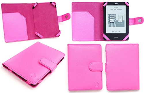 "Emartbuy® Kobo Glo HD 6"" Pouce Wi-Fi eReader Neon Rose PU Cuir Etui Coque Case Cover Sleeve Folio"