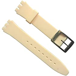 17mm Replacement Waterproof Silicone Rubber Watch Strap Watch Band (Beige)
