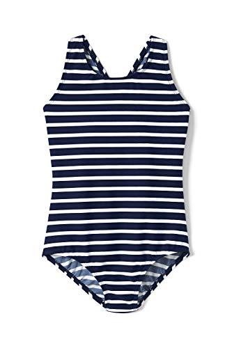 Lands' End Gestreifter Badeanzug mit gekreuzten Trägern für große Mädchen Blau 8 (Große Für Badeanzug Mädchen)