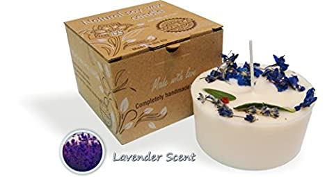 Pure Natural Soy Wax Gift Candle with Real Dry Flowers, Eco-frendly (Lavender, 200g)