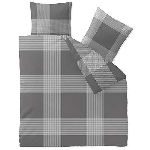 CelinaTex Touchme Biber Bettwäsche 200 x 200 cm 3teilig Baumwolle Bettbezug Stine Karo grau anthrazit