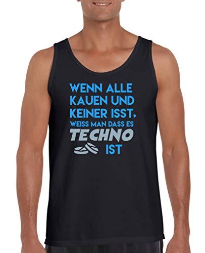 Hündin Tank (Comedy Shirts - Wenn alle kauen und keiner isst, Weiss Man DASS es Techno ist - Herren Tank-Top - Schwarz/Blau-Eisblau Gr. L)