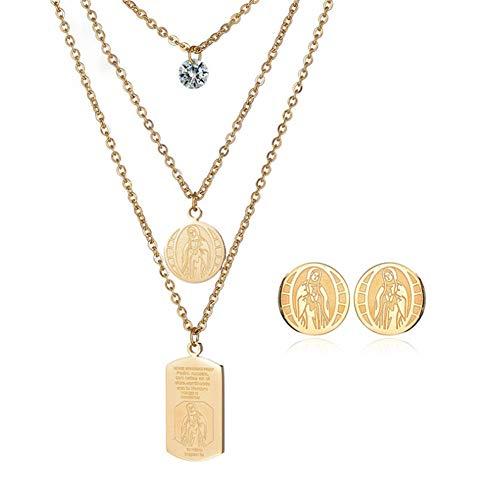 Eqerlian collana orecchini religiosi in due pezzi set multistrato intarsiato in oro 18 carati diamanti in acciaio inossidabile modelli femminili virgin mary