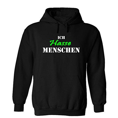 Ich hasse Menschen Hoodie Sweatshirt Pullover Fun Schwarz versch. Druckfarben (Schwarz/Grün, XXL)