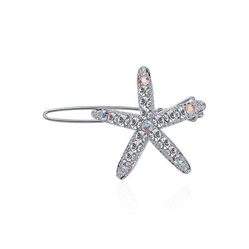 CHIMERA Seestern-Haarspangen, klein, zierliche Silberlegierung, Strass-Haarspangen, Kristall, Seestern, Hochzeits-Clips für Damen