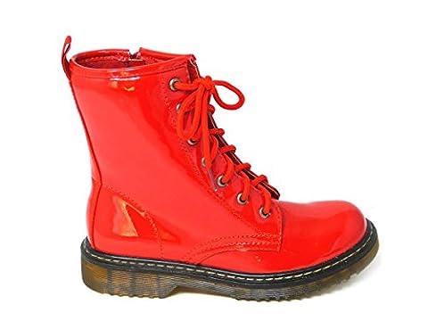 Bottines à lacets avec zip en cuir vernis pour femmes Style vintage, punk, combat Pointure 36-42 - multicolore - Red (hm001),