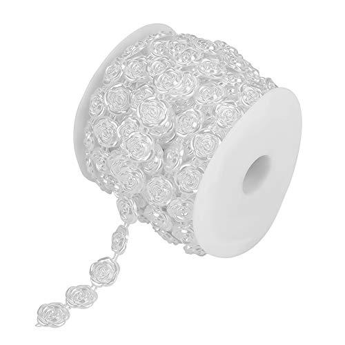 Rose Perlen Bänder, 49.2ft handgefertigte Rose Perlenkette Perlen für Heim & Garten Dekoration, DIY Hochzeit Girlande, Perlen Vorhang, Hochzeit Hintergrund(white)