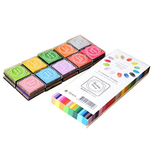 PETSOLA Kit D'encrage pour Enfants avec Tampon Encreur D'empreintes Digitales De 20 Couleurs