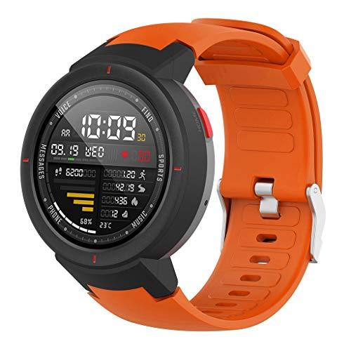 für Huami Amazfit Verge Armband+Weiche/Explosionssichere TPU Schutzhülle, Bloodfin Weiches Silikon Uhrenarmband Ersatzband Sport Zubehörteil Schnellverschluss Armbänder (Orange)