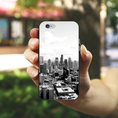 Apple iPhone 7 Silikon Hülle Case Schutzhülle City Stadt Skyline Silikon Case schwarz / weiß