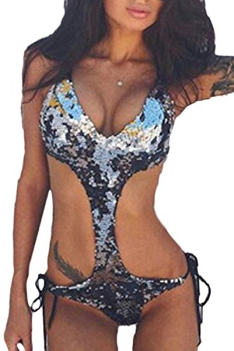 Fanvans Frauen Heißen Pailletten Einen Bikini Aus Microkini Trikini Monokini Stücke Hohl Sliver S
