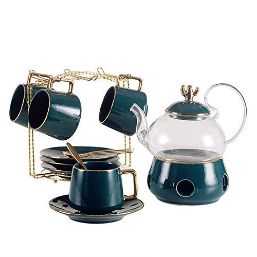 Moderne Teekanne,Modern Florales Tee Set,1 + 1 Topf + 1 Boden + 4 Tassen + 4 Löffel,Bone China Tee Set Service Kaffee Set, Für Geschenk Und Haushalt Floral Tee-set
