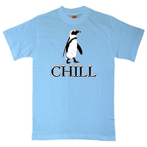 Chill Penguin (Refugeek Tees - Herren Chill Penguin T Shirt - XX-Large - Light blue)