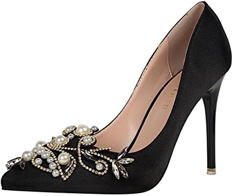Women Es High Heels Satin Strass Perlen Sexy Mode Flachen Mund Spitze Stiletto Heels Sandalen Brautjungfer Schuheö