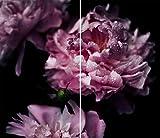 DAMU |Ceranfeldabdeckung 2 Teilig 2x30x52 cm Herdabdeckplatten Blumen Elektroherd Induktion Herdschutz Spritzschutz Glasplatte Schneidebrett Violett Natur