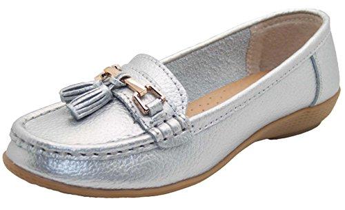 Jo & Joe Damenschuhe aus Leder, flache lässige Damenslipper, bequeme Schuhe mit niedrigem Keilabsatz, Arbeitsschuhe, Silber - silber - Größe: 40 (Joe Leder)