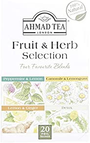 Ahmad Tea London Fruit & Herb Selection Four Favourite Blends Tea, 20 Foil Tea Bags