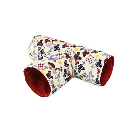 MagiDeal 3-Weg Spielzeug T-Form Tunnel Klein Schlaf Tunnel Für Meerschweinchen Hamster Kleintier Beige , Lange 29cm
