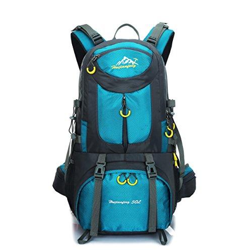 LQABW 50L Professionelle Outdoor-Bergsteigen Tasche Wasserdichte Wander Camping Rucksack Angelbedarf Blue
