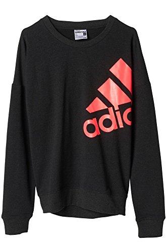 Adidas Essentials Sweat-shirt pour femme avec logo Noir - Noir/Rose
