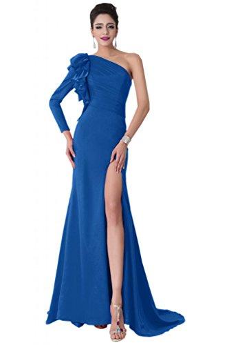 Sunvary Hochwertig 2015 Neu Blumen Chiffon Schlitz Arm Meerjungfrau Abendkleid Lang Ballkleider Royalblau