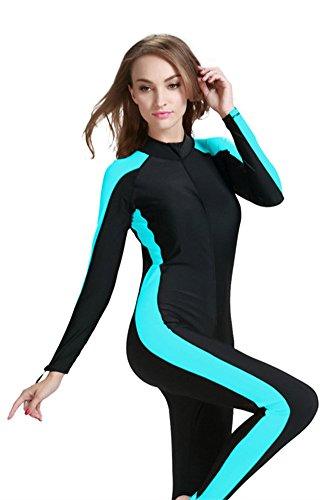 Modest Swimwear - Taucheranzug Damen Herren Mädchen UV Schutzkleidung Sunsuit Ganzkörperansicht Badeanzug Overall Watersport (Int'l - L, blau)