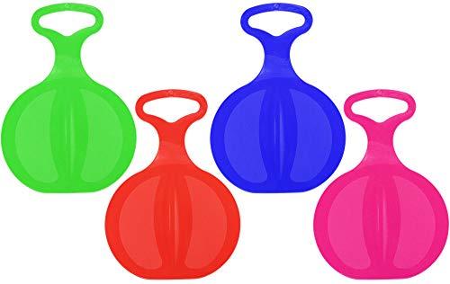 com-four® 4 Schneeflitzer, Schlitten mit Handgriff in bunten Farben [Auswahl variiert] (04 Stück - Free) (Aufblasbarer Schlitten Für Kinder)