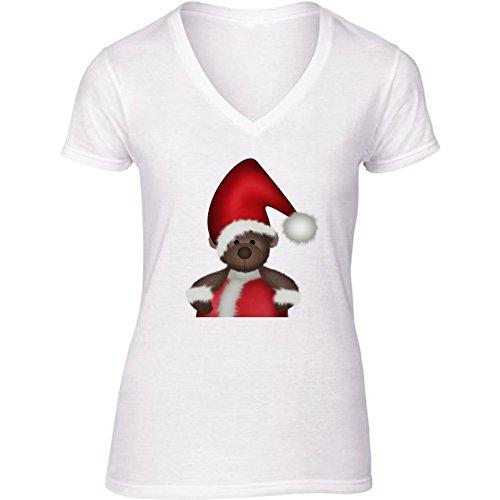 camiseta-blanca-con-v-cuello-para-mujer-tamano-s-cb-oso-de-santa-by-digital-art