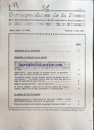CORRESPONDANCE DE LA PRESSE (LA) [No 879...