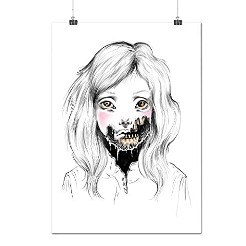 Girl Face Skeleton Sadness Head Matte/Glossy Poster A2 (60cm x 42cm) | Wellcoda