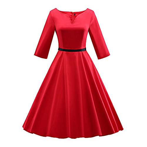 iLover 50s vintage rockabilly full circle Hepburn style V-neck Party Dress Cocktail