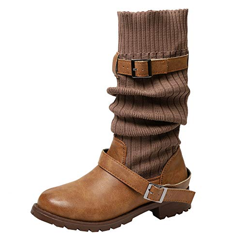 Sannysis Stiefeletten Damen Elegant Socken Stiefel Warme Schuhe Leder Booties Flache Langschaftstiefel Stiefelette Outdoor