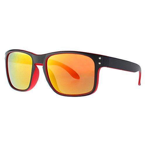 DISTRESSED Superior Sonnenbrille Sportbrille verspiegelt oder getönt - viele Farben (sw/rot-gold-rot-verspiegelt)